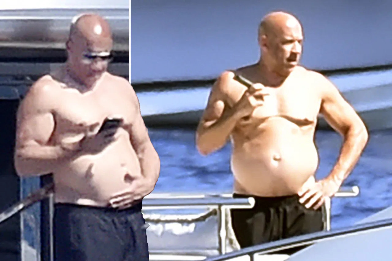 """Vin Diesel Displays """"Dad Bod"""" While On Holiday With His Family"""